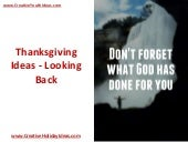 Thanksgiving Ideas - Looking Back