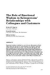 The role of emotional wisdom in sal...