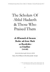 The scholars-of-ahlul-hadeeth-and-t...