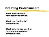 The Where Creating Environments