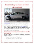 The 2013 Toyota Avalon excels in safety ratings!