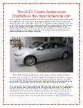 The 2013 Toyota Avalon near Charlotte is the most American car!