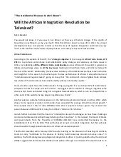 Will the African Integration Revolu...