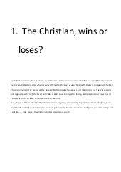 The christian, does it win or loses