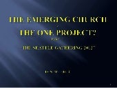 The emerging church and the one pro...