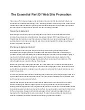 The essential part of web site promotion
