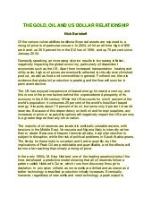 The gold oil and doller relationship
