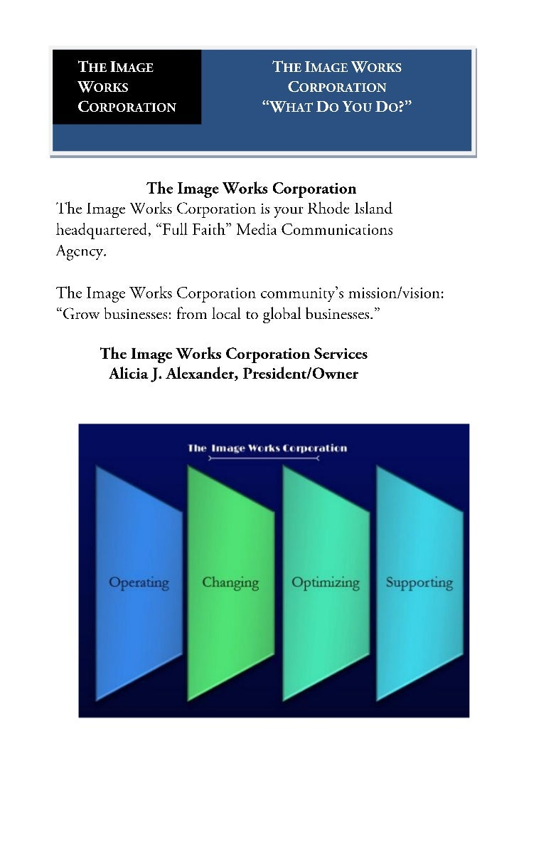 The Image Works Corporation Menu