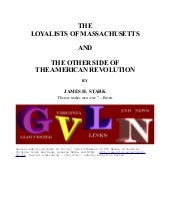 The Loyalists of Massachusetts