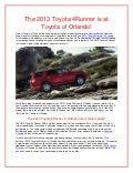The 2013 Toyota 4Runner is at Toyota of Orlando!