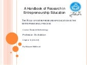 The role of entrepreneurship educat...