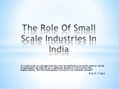 The role of small scale industries ...