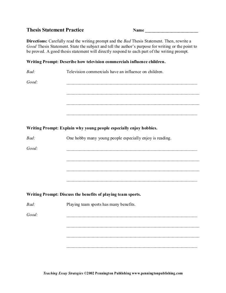 Strategies teaching thesis statements