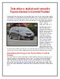 The Stylish Toyota Sienna in Central Florida