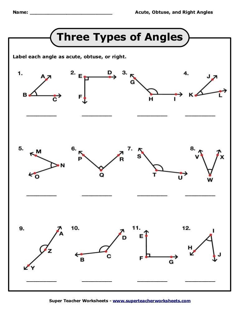 Three types of angles