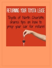 Tips for returning your Toyota lease!
