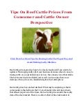 Tips On Beef Cattle Prices From Consumer and Cattle Owner Perspective