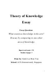 Could someone please help me with this Theory of Knowledge Essay?
