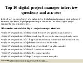 Top 10 digital project manager interview questions and answers