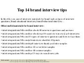 Top 14 brand interview tips