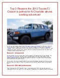 Top 3 Reasons the 2013 Toyota FJ Cruiser is perfect for N Charlotte drivers seeking adventure!