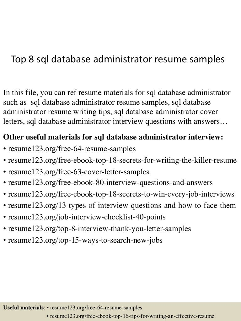sql dba resume samples