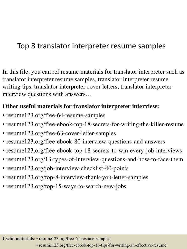 Dev Apps Tester Cover Letter Image Gallery Of Integrator Cover  Top8translatorinterpreterresumesamples 150601105712 Lva1 App6891 Thumbnail 4