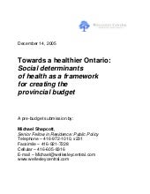 Towards a Healthier Ontario: Social...