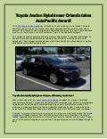 Toyota Avalon Hybrid near Orlando takes AutoPacific Award!