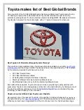 Toyota makes list of Best Global Brands!