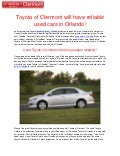 Toyota of Clermont will have reliable used cars in Orlando!