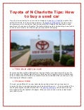 Toyota of N Charlotte Tips: How to buy a used car