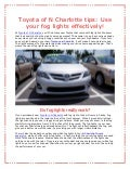 Toyota of N Charlotte tips: Use your fog lights effectively!