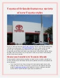 Toyota of Orlando features a variety of new Toyota styles