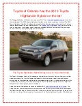 Toyota of Orlando has the 2013 Toyota Highlander Hybrid on the lot!
