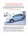 Toyota of Orlando offers new Toyota decorated with Top Safety Picks!