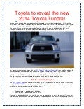 Toyota to reveal new 2014 Toyota Tundra model!