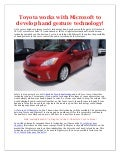 Toyota works with Microsoft to develop hand gesture technology!