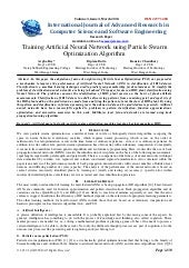 Training artificial neural network ...