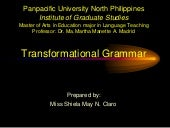 Transformational Grammar by: Noam C...