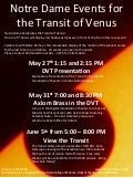 University of Notre Dame Transit of Venus 2012 Activities  poster