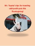 Mr. Toyota's tips for traveling safely with pets this Thanksgiving!