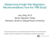 Modernizing Freight Rail Regulation: Recommendations from the TRB Study