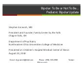Treatment of pediatric bipolar diso...