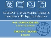 Technological Trends and Probles in the Philippine Industries Report