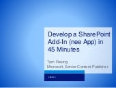 Develop a SharePoint App in 45 Minutes