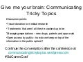 SCC 2012 Give me your brain: communicating tricky topics