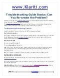 Troubleshooting guide basics can you re create the problem
