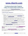 Troubleshooting Guide Template:  5 Ways To Improve Style and Format