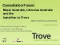 Consultation Forum: Music Australia and Trove Transition, September 2010, IAML Conference, Brisbane